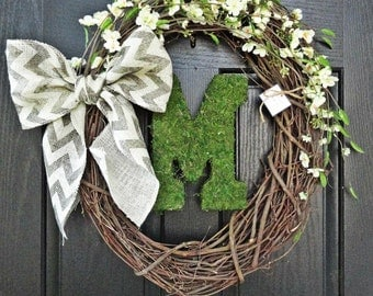 Rustic White Cherry Blossom Flowers and Chevron Burlap Bow and Moss Monogram Wreath for Wedding, Housewarming, Gift, Summer Wreath