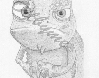 6x4 sketch of the chameleon from the film Tangled
