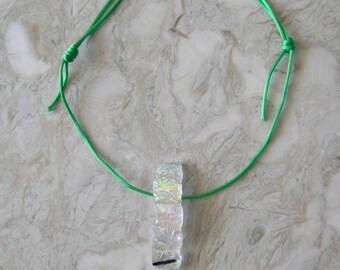 Unique Dichroic Glass Pendant On Silk Cord