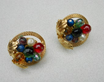 Antique earrings 1940s GERMANY art glass fruit salad and elaborate gold tone metal work clip on