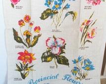 Vintage Floral Linen Towel - Leacock Unused