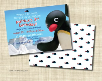 Pingu Inspired Printable Birthday Invitation front and back