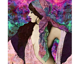 Burlesque vintage goddess, digital print, photomontage, gypsy, boho, 1920 s print, vintage nude, fine art print, home decor, wall art