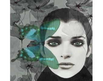 Butterfly portrait, digital print, modern art, fantasy portrait, fine art, photomontage, digital art, home decor, portraiture, wall art