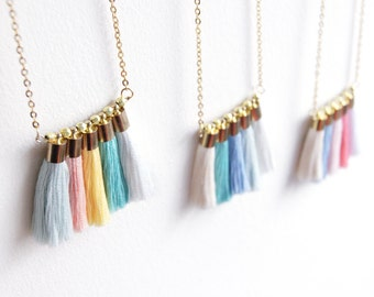pastel necklace . long tassel necklace . turquoise necklace . pastel jewellery . circus carnival jewellery . colour block jewellery