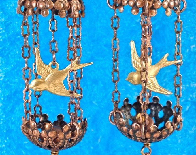 Bird cage earrings, Flights of Fancy Earrings, Brass Bird Cage Earrings, Birds in cage earrings, Spring jewels, Easter jewelry, Mother's Day