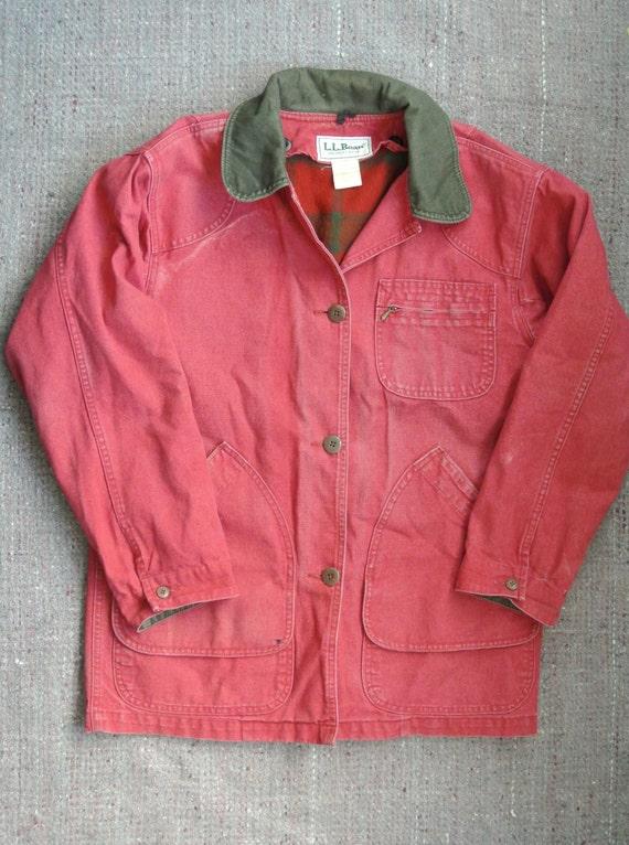 Vintage LL Bean Field Barn Jacket w/ Plaid Wool Lining c. 1980s sz Small-Medium