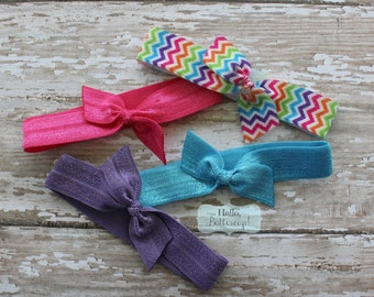 4 No Tug Elastic Hair Ties - Rainbow Chevron Pink Purple and Turquoise Ponytail Holders - Hairties