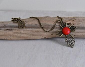 Antique Bronze Red Cross Pendant Necklace