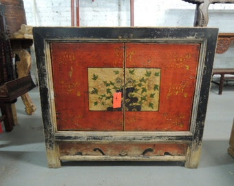 Antique Chinese Storage Cabinet, Console or Media Piece in Distressed Dark Red with Asian Motif (Los Angeles)