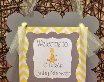 Door Sign - Baby Giraffe Yellow & Gray Theme - Matching Party Packs Available