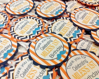 12 - Mustache Bash Little Man Baby Shower Favor Tags Orange & White Stripes Navy Blue Chevron with Turquoise accents- Party Packs Available