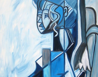 After Picasso's Sylvette David, Original Oil Painting