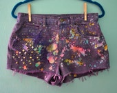 Vintage Splatter Galaxy Studded Purple Multi Color Dyed Mid Rise Denim Shorts / Cutoff Frayed Distressed Upcycled Jeans / Size M L US 6-8