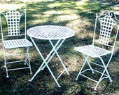 Vintage Shabby Chic White Wrought Iron Folding French Café Bistro Table & 2 Chairs Set