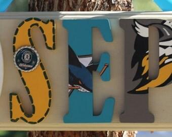 All About Plaque - Joseph - His Favorite Teams - Oakland Raiders & A's / San Jose Sharks / Stockton Thunder Name Plaque - Customizable!