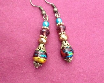 Beautiful Gold Drop Earrings with Red and Gold Crystals  and blue pearl beads - Gifts Under 10