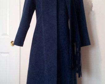 vintage 1970's dark blue suede trench coat
