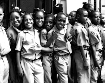 Black & White Photography - Jamaica Youth - 8x14 Fine Art Print, Portrait Photography, Travel Photography, Jamaica Market, Happy Kids
