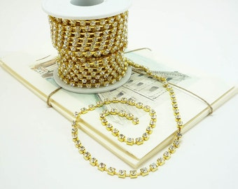 Gold Rhinestone Chain, Clear Crystal, (4mm / 1 Foot Qty)