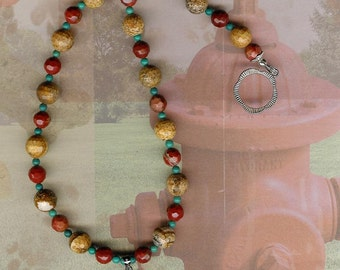 Tisket, Tasket, Puppy in a Basket - African Queen Picture Jasper, Red Jasper, Turquoise, Sterling Silver Necklace