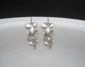 Orchid chandelier earring matte silver , orchid flower earring , silver flower cascade earring, bridesmaid earring
