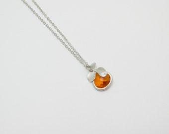 gemstone bridesmaids necklace , orange drop necklace , flower charm necklace , silver drop charms necklace