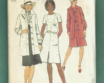 1973 Simplicity 6177 Jacket with Over Sized Notched Collar & Perfect Matching Dress with Inverted Front Pleat Size 14