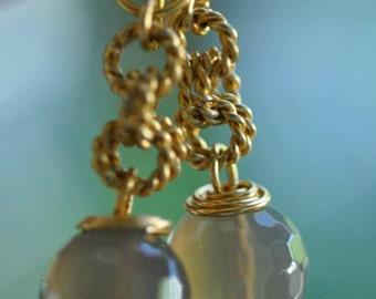 Smokey Quartz Dangling Earrings on Gold Wire