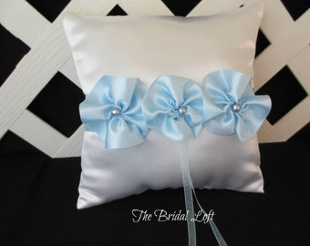 Light Blue Wedding Ring Pillow, Light Blue Ring Bearer Pillow, White Satin Ring Pillow with Blue Satin Flowers and Pearls, Ready to Ship