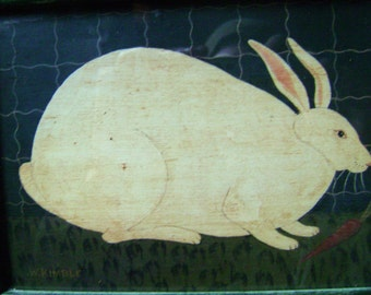Vintage Framed Rabbit Print.  Naive Style
