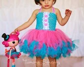 Lalaloopsy inspired petti tutu dress and matching hairbow