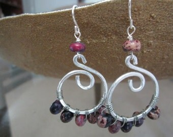 Silver swirl with amethyst dyed imperial jasper
