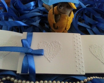 50 SHOWER CARDS Embossed and Adorned With Ribbon