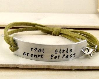 Real Girls Aren't Perfect, Leather Bracelet, Quote Bracelet, Hand Stamped Bracelet, Personalized Bracelet