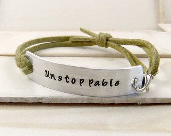 Unstoppable, Hand Stamped Bracelet, Leather Bracelet, Personalized Cuff