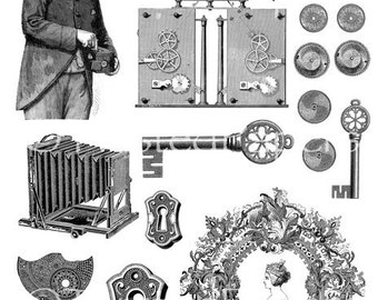 Victorian Line Art Clip Art Illustrations Collage Sheet for Mixed Media, Steampunk Art in both JPEG and PNG files, CS13-194i