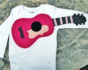 """Kids clothes- Amazing PINK and GREY """"Acoustic Guitar"""" baby guitar bodysuit"""
