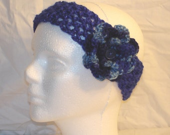 Blue Sparkle Crocheted Headband with Multicolored Flower