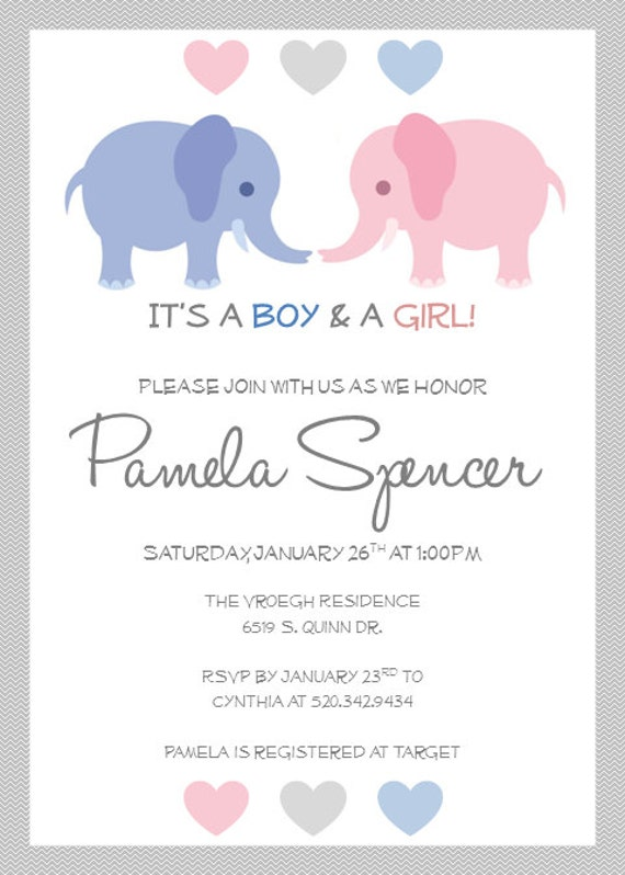Printable twin baby shower invitations by pamelasdigitalprints for Twin baby shower invitations templates free