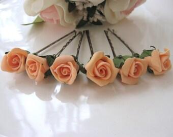 Set of 6 Orange Rose Floral Hair Clips Floral Hair Clips, Bridal Hair Accessories, Wedding Hair Accessories, White Paper Flower