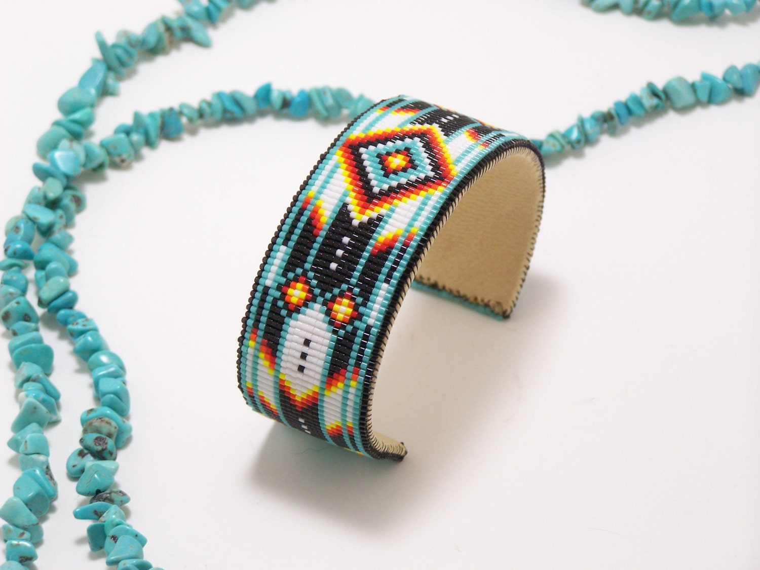 american beaded cuff bracelet in turquoise by