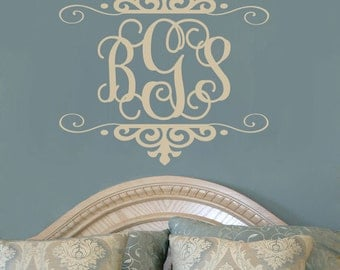 Personalized Three Initial Monogram Vinyl Wall Decal For Master Bedroom Teen Girls Room Or Baby Girl Nursery 22H x 24W MG003