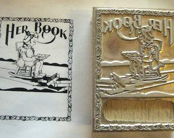 "Bookplate ""Her Book Girl in Chair"" Letterpress Printing Block, Letterpress Block, Print Blocks - Mounted Letterpress Block - Magnesium Plate"