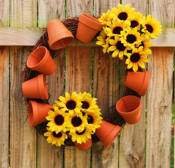Garden Wreath Tumbling Pot Wreath Terra Cotta Flower Pot