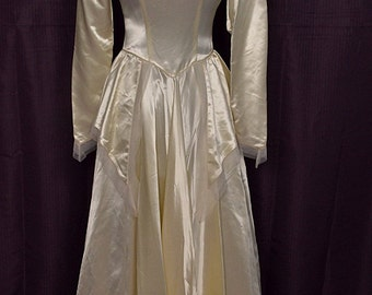 "1940s Vintage Long Sleeve Ivory Satin Wedding Gown/Dress w Peplum & 78"" Train, Bust 34"
