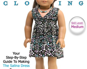 Pixie Faire Liberty Jane Salina Dress Doll Clothes Pattern for 18 inch American Girl Dolls - PDF