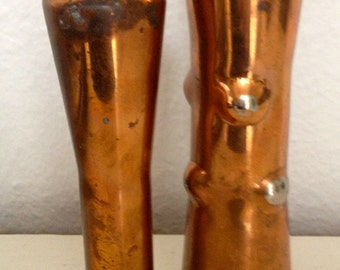 2 MID CENTURY SCULPTURE Copper Vases Scandinavian.