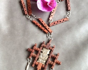 Mayan carved wood and silver  necklace