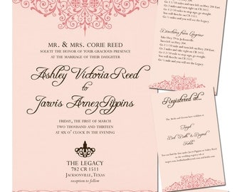 Wedding Invitation Set - Digital, Peach Swirl Border, Invitation, Inserts, Elegant